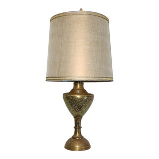 Mid 20th Century Leonard R. Foss Studios Floral Etched Brass Urn Table Lamp For Sale
