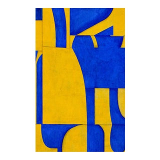 "Cecil Touchon ""pdp #653"" Abstract Blue & Yellow Painting on Panel For Sale"