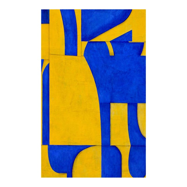 """Cecil Touchon """"pdp #653"""" Abstract Blue & Yellow Painting on Panel For Sale"""