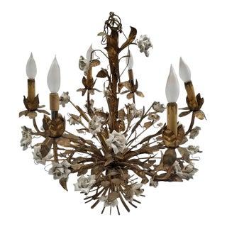 Hollywood Regency Italian Gold Gilded Tole Roses Chandelier For Sale
