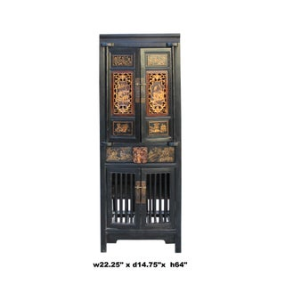 Chinese Black Golden Carving Narrow Wood Storage Wardrobe Hutch Cabinet Preview