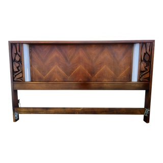 Illuminated Walnut Brutalist Style King Size Headboard