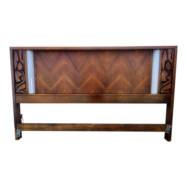Illuminated walnut brutalist style king size headboard for Illuminated bed