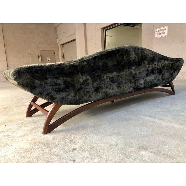Mid Century Modern Designer Pearsall Style Gondola Sofa Fuzzy Black Velvet For Sale - Image 9 of 10