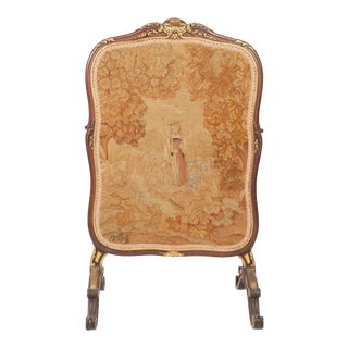 Antique French Needlepoint and Parcel Giltwood Fire Screen For Sale