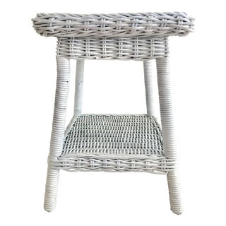 Boho Chic Painted White Wicker Table