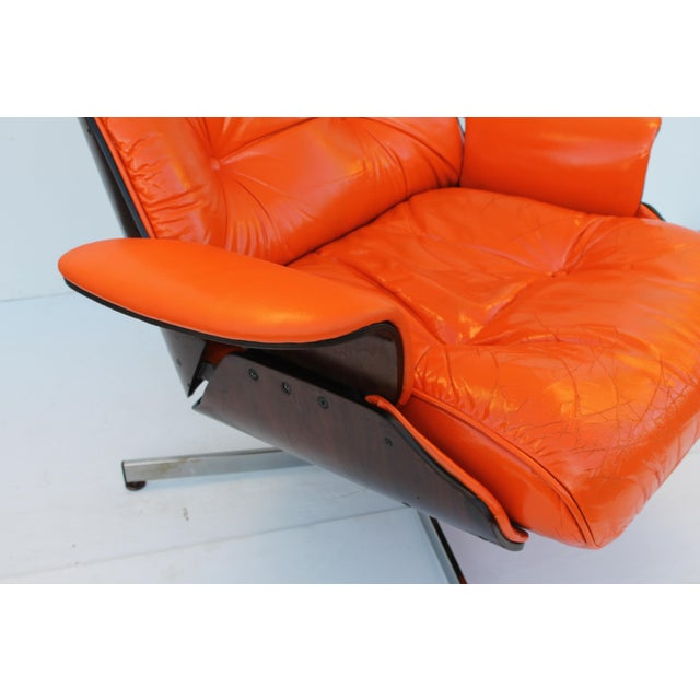 Mid-Century Modern Orange Leather Recliner - Image 4 of 11