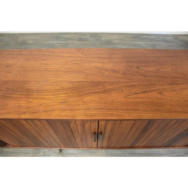 """108"""" Floating Walnut Tambour Credenza by Furnette For Sale - Image 9 of 12"""