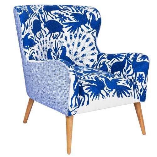 Blue 1960s Boho Chic Blue and White Embroidered Lounge Chair For Sale - Image 8 of 11