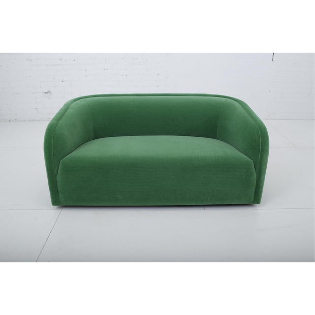 Post Modern Barrel Back Settee in Green Mohair For Sale - Image 9 of 9