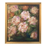 Image of Vintage Impressionist Floral Oil Painting of Roses by Simonpietri For Sale