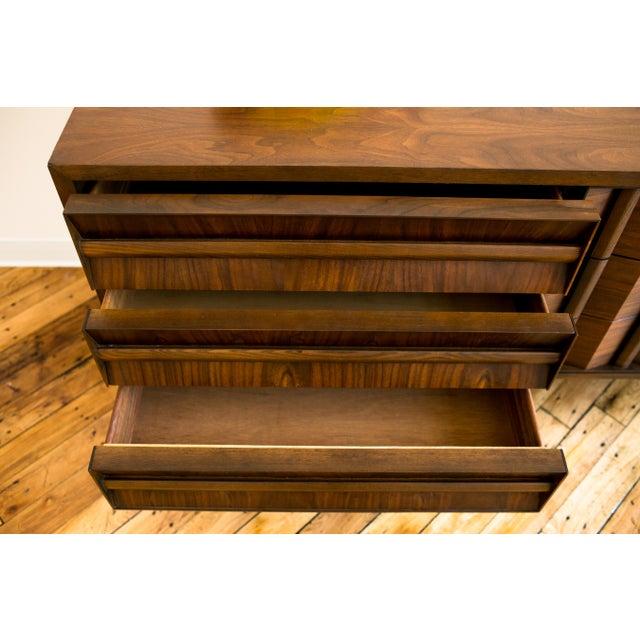 Brutalist Mid-Century Walnut Credenza Dresser - Image 4 of 7