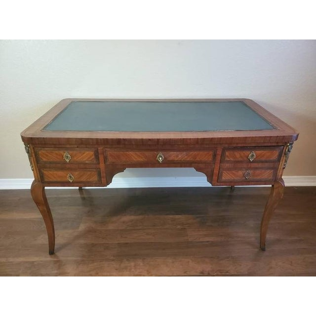 French 1920s French Louis XVI Bureau Plat Writing Desk For Sale - Image 3 of 13