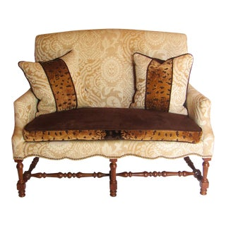 Contemporary Southwood Damask and Chenille Leopard Print Settee with Pillows - 3 Pieces For Sale