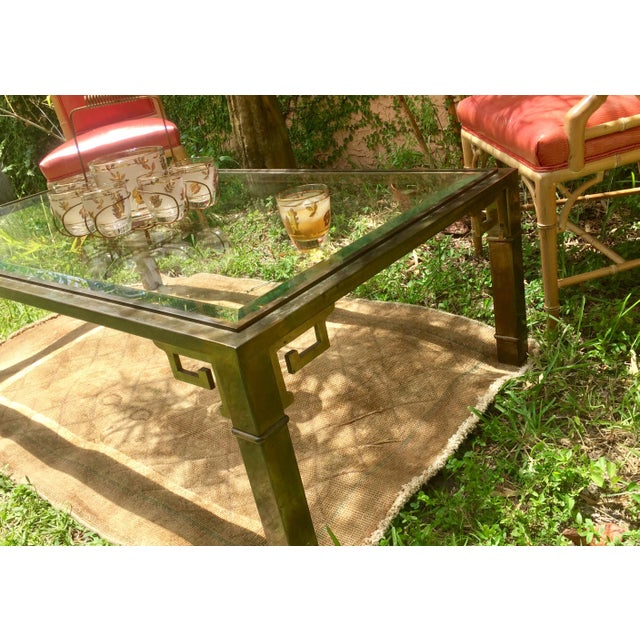Gold 1970s Vintage Mastercraft Regency Style Brass Coffee Table For Sale - Image 8 of 10