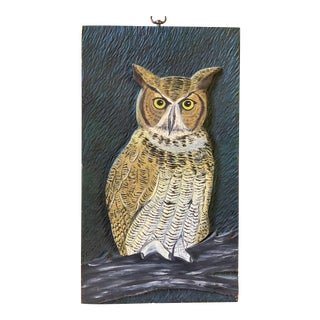 Vintage Primitive Carved Wood Owl Painting For Sale