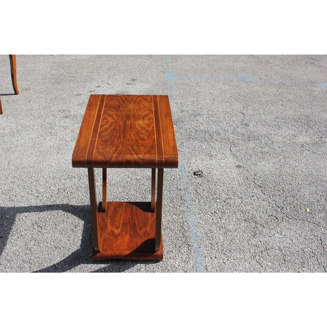 1940s Art Deco Exotic Walnut Side Table For Sale - Image 10 of 12
