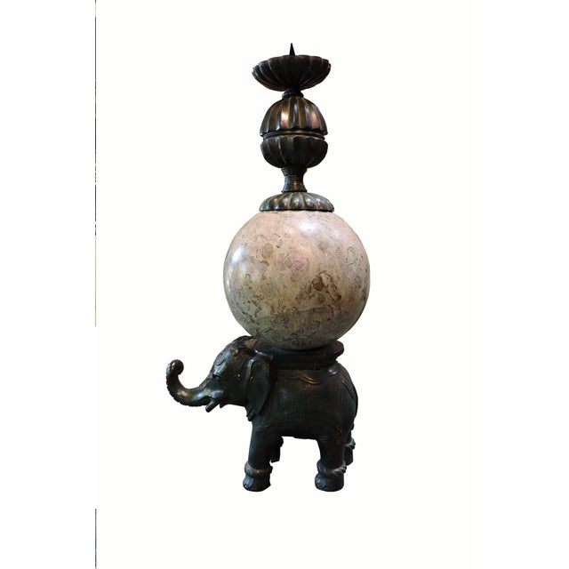 Cast Bronze Elephant Candlestick With Semi-Precious Stone Sphere For Sale In San Francisco - Image 6 of 6