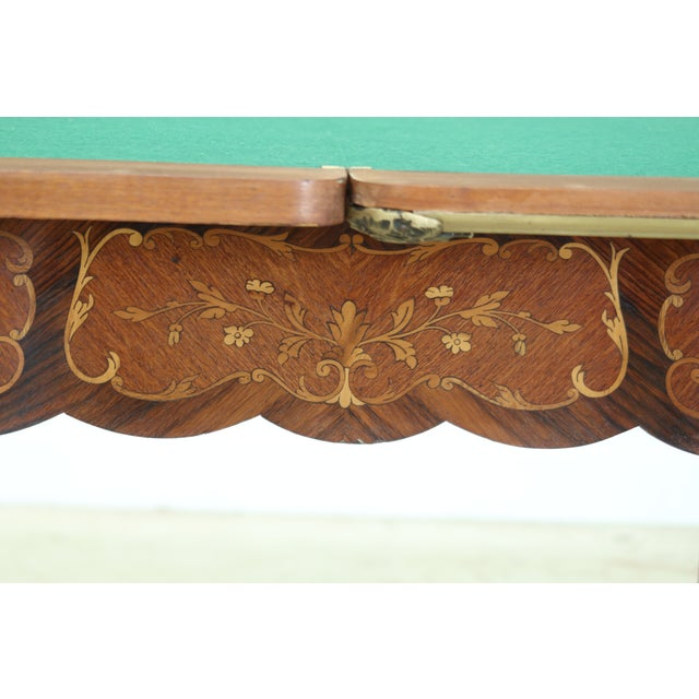 Vintage 1920s Highly Inlaid French Louis XV Games Table For Sale - Image 12 of 13
