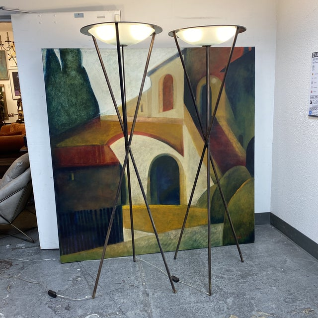 Late 20th Century Tripod Floor Lamps - a Pair For Sale - Image 11 of 13