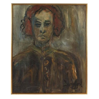 """""""Kathleen Brown, the Painter, Oakland"""" Portrait in Gray, 1967 For Sale"""