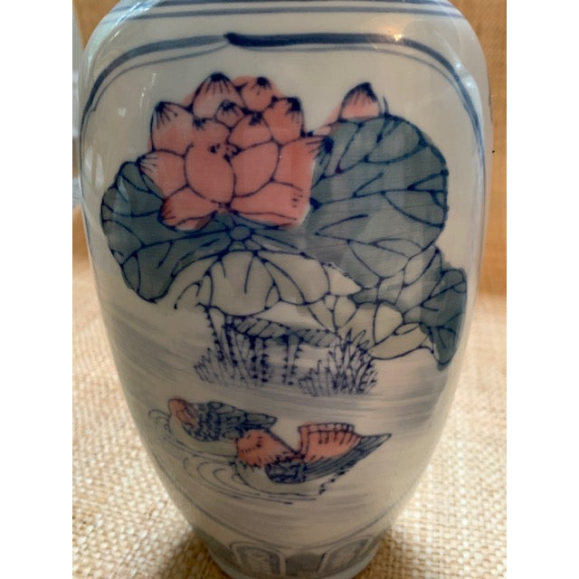 Asian 1980s Vintage Chinoiserie Pastel Colored Vases- A Pair For Sale - Image 3 of 7