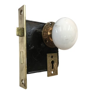 Antique Late 19th Century Eastlake Victorian Yale & Towne Mortise Lock Box With Porcelain Door Knobs For Sale