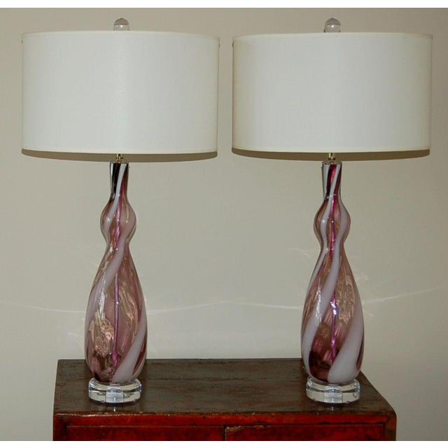 Contemporary Vintage Italian Glass Table Lamps Purple White For Sale - Image 3 of 7