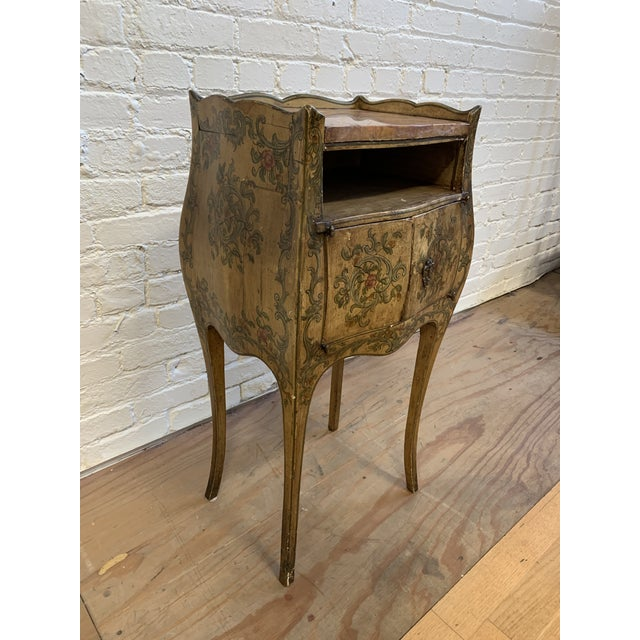 Early 20th Century Early 20th-Century French Inspired Hand Painted Side Cabinet + Marble Top For Sale - Image 5 of 12