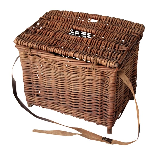 Antique Wicker Fishing Basket - Image 1 of 11