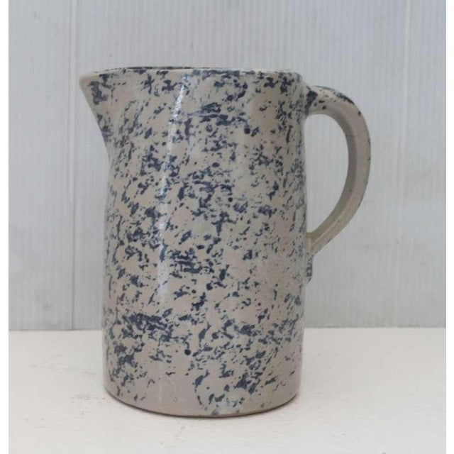 Early American 19th Century Spongeware Pottery Speckled Pitcher For Sale - Image 3 of 8