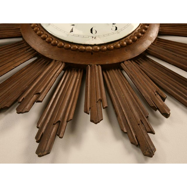French Sunburst Clock with Porcelain Face For Sale - Image 10 of 11