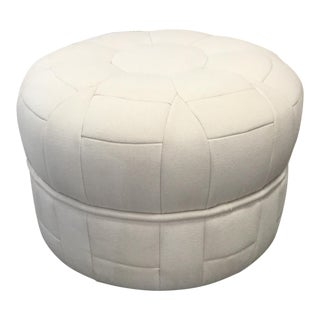 Neutral Patchwork Fabric Round Ottoman For Sale