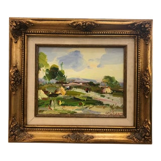 Gold Framed Landscape Oil Painting on Linen Signed and Numbered For Sale