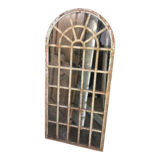 1920s Vintage Industrial Arched Metal Chicken Wire Glass Window For Sale