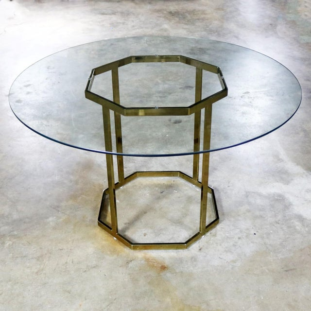 Milo Baughman Style Octagon Brass Plated Metal Dining Table With Round Glass Top For Sale - Image 12 of 12