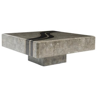 Graphic Tessellated Marble Coffee Table For Sale