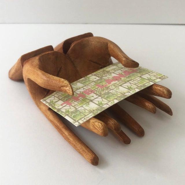 Teak Wooden Hand Card Holder For Sale - Image 7 of 8