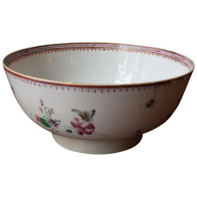 1770-90 Antique Neoclassical Chinese Export Punch Bowl For Sale