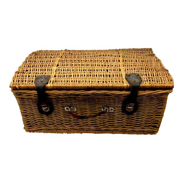 1950s Vintage Wicker Suitcase Basket For Sale