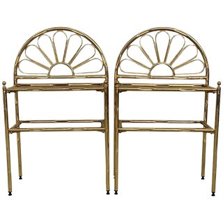 Mid-Century Modern Italian Faux Bamboo Gilt Metal NightStands With Smoked Glass For Sale