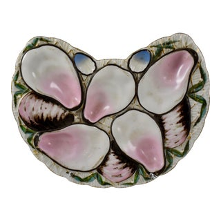 Porcelain Half Moon Pink Shell on White Oyster Plate For Sale