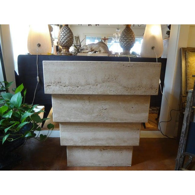 Hollywood Regency Italian Stepped Travertine Pedestal or Table Base For Sale - Image 3 of 10