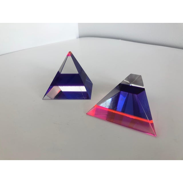 Abstract Pair of 1980's Multi -Colored Acrylic 3-D Trapezoids - Signed Ashley Style of Vasa For Sale - Image 3 of 13