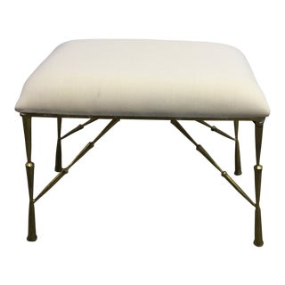 Contemporary Muslin Upholstered Brass Gold Bench