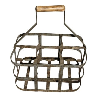 Vintage French 6 Bottle Wine Carrier For Sale