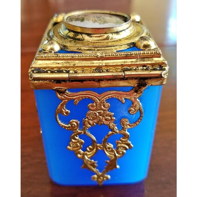Mid 19th Century 19c Continental Turquoise Glass Box With Miniature of Palace Scene For Sale - Image 5 of 8