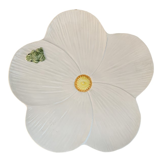 Trompe l'Oeil Italian Hand Painted White Ceramic Flower and Frog Plate For Sale
