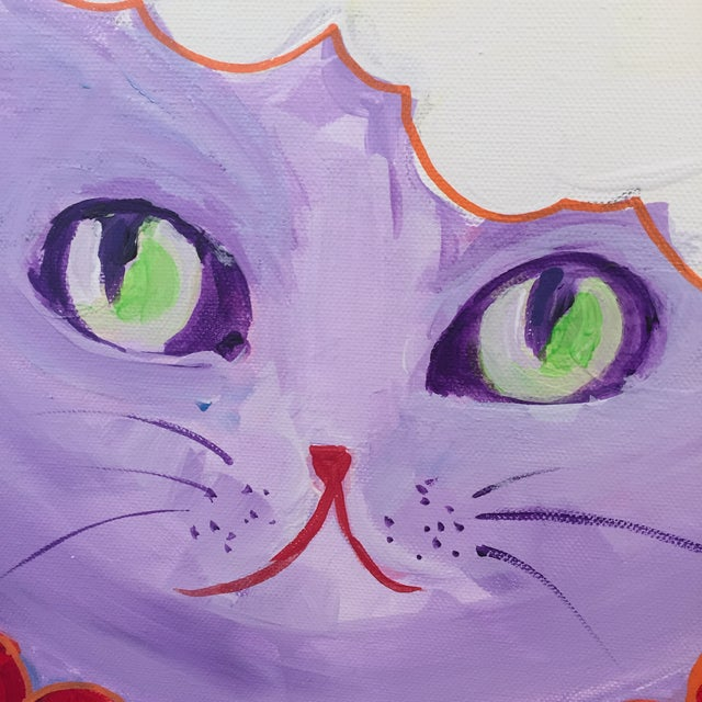 Painting of The Valentine Cat With the Cupcake Hat For Sale - Image 4 of 5