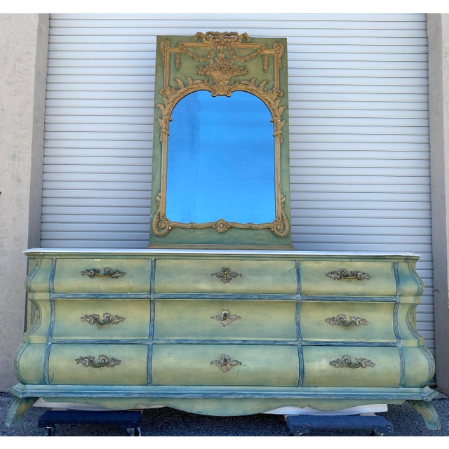 Metal Maslow Freen New York Design Marble Top Dresser & Mirror For Sale - Image 7 of 13